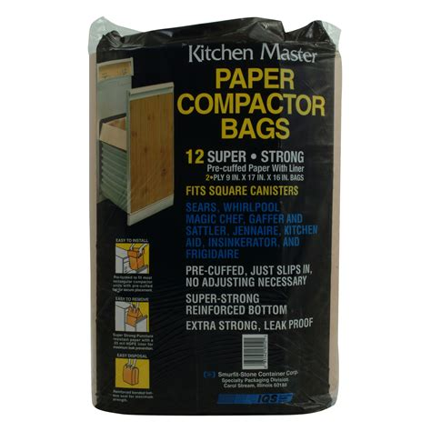 garbage compactor bags kitchen master 2 ply 9 x 17 x 16 quot paper compactor bags 12