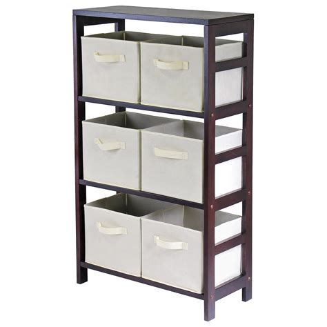 storage bookshelves with baskets winsome 3 section m storage shelf bookcase with 6 foldable beige fabric baskets at hayneedle