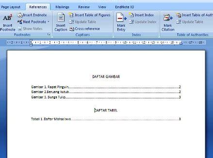 membuat daftar gambar pada makalah membuat daftar gambar tabel secara otomatis pada ms word