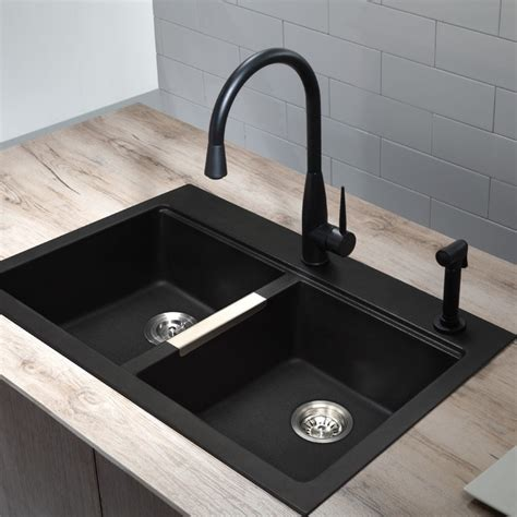 black kitchen sink black sink and faucet