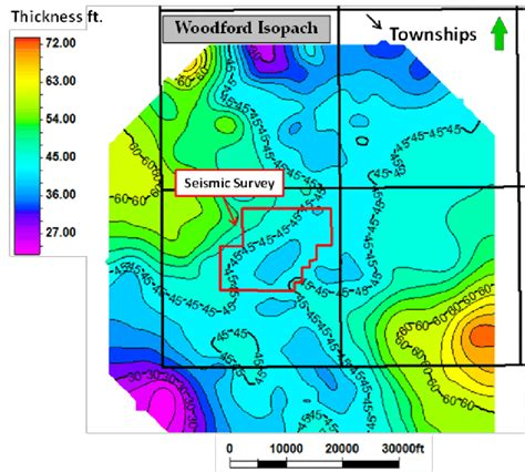 isopach map figure 50 woodford shale isopach map based on well logs
