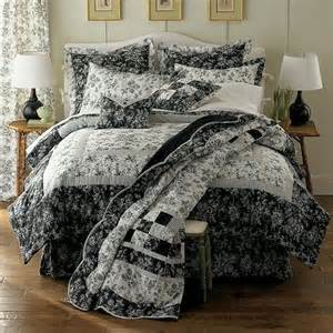 king toile comforter set black white 2 shams bedskirt