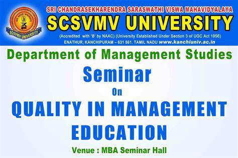 Mba In Quality Management In Chennai by Sri Chandrasekharendra Saraswathi Viswa Mahavidyalaya