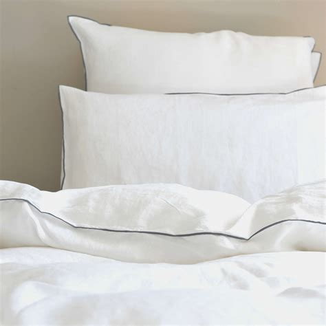 White Linen Comforter by White Washed Linen Comforter Cover With Gray Bourdon