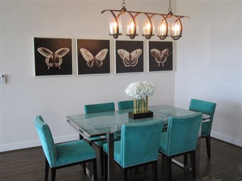 teal dining room small contemporary dining room with crackled glass top chrome base and teal studded dining