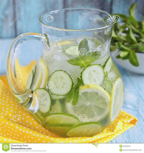Detox Water Lemon Mint Cucumber Lime by Fruit Water In Glass Pitcher Stock Photo Image 54555244