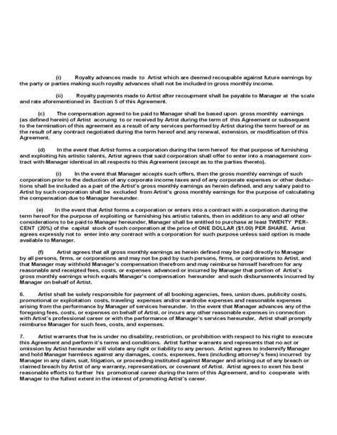 artist management agreement template artist management contract template free