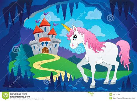 Unicorn Fairy Tale Illustrations | cute unicorn in fairy tale cave stock vector image 42410056