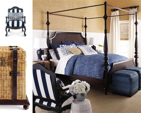 White Colonial Bedroom Furniture by Grasscloth Above Wainscoting With Navy Blue And White