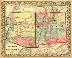 Arizona New Mexico Map by Historical Map Of Arizona And New Mexico Az 1867