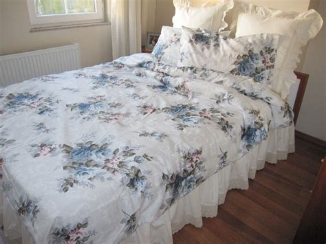 shabby chic bedding blue gray bloom flower rose by nurdanceyiz