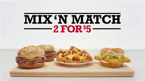 arbys curly fries commercial voice arby s 2 for 5 tv commercial mix n match past vs