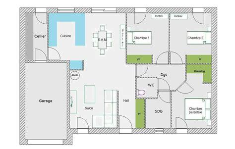 Plan Maison 90m2 Plain Pied 4345 by Plan Maison Plein Pied 90m2 Free With Plan Maison Plein