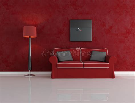 Rotes Wohnzimmer by Rotes Und Schwarzes Wohnzimmer Lizenzfreies Stockfoto