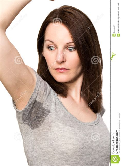 hair vagainas woman sweating very badly under armpit royalty free stock