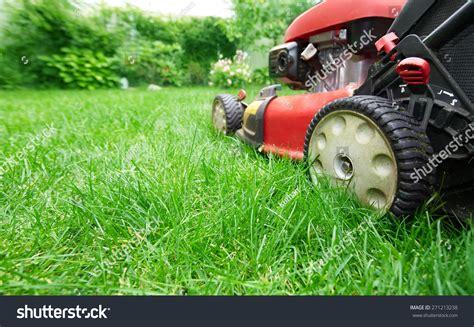 cutting grass games with a lawnmower lawn mower cutting green grass backyardgardening stock