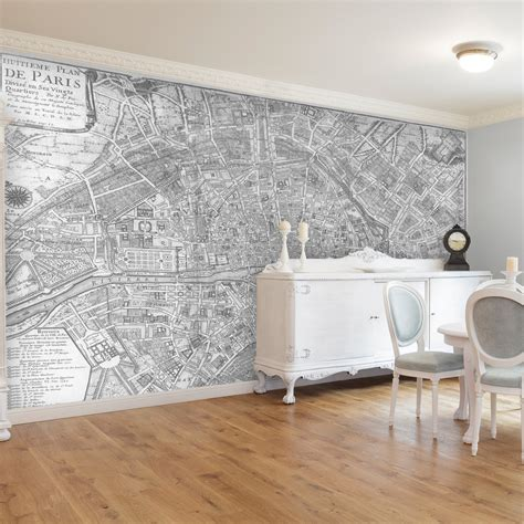 wallpaper self adhesive swag paper map of 1705 huitieme plan de paris self