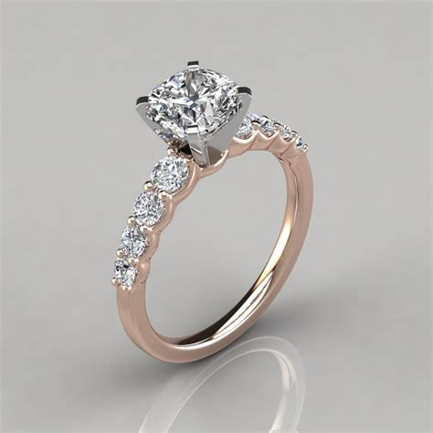 Graduated Side Stone Cushion Cut Engagement Ring