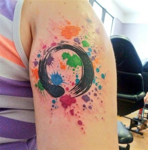 my newest tattoo zen enso symbol w paint splatter