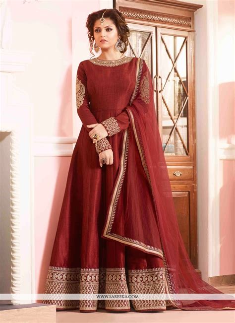 Floor Length Designer Suits buy mesmerizing maroon silk designer floor length suit mauritius