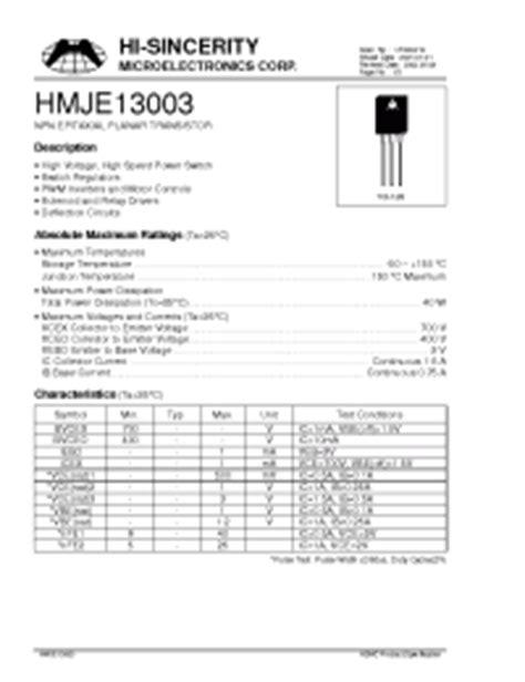 x13003 transistor datasheet 13003br hi sincerity npn epitaxial planar transistor