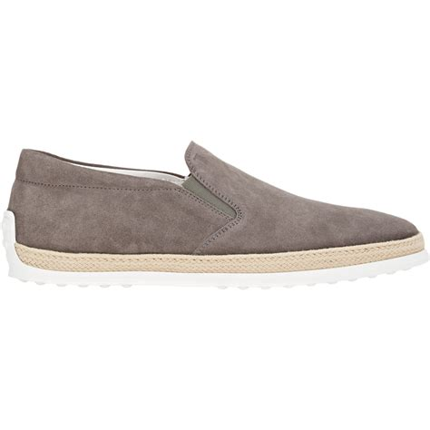 mens slip on sneakers tod s suede slip on sneakers in gray for lyst