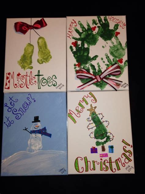 christmas crafts footprint and small canvas on pinterest