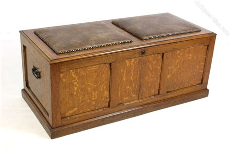 oak ottoman storage upholstered oak ottoman chest trunk storage box antiques