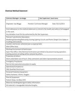 method statement template free pdf sle method statement template 8 documents in pdf
