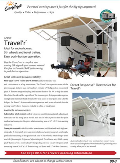 Carefree Travel R Awning by Carefree Travel R 12v Adjustable Pitch 8 Power Awning Arm