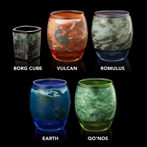 Drinkware Sets Trek Planetary Glassware Set Thinkgeek