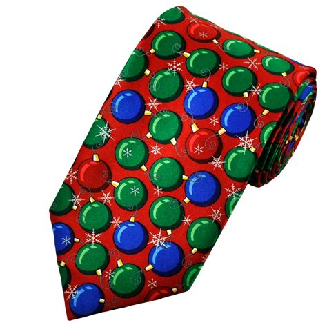 baubles red novelty christmas tie from ties planet uk