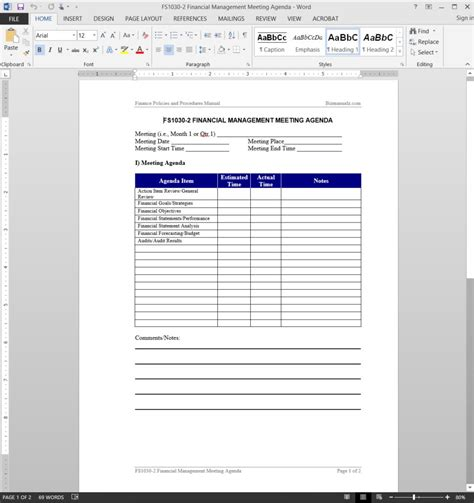 finance templates financial management meeting agenda template