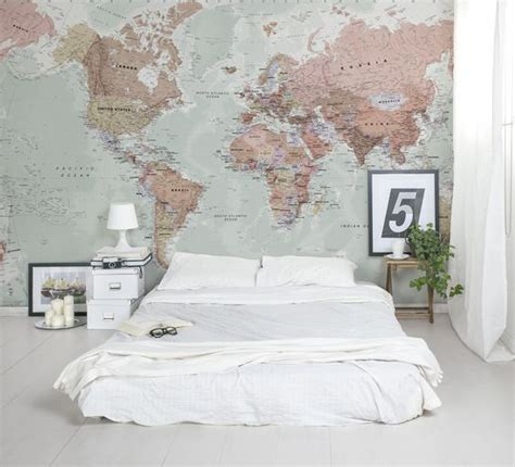 Classic World Map Wallpaper Wall - 31 cool travel themed home d 233 cor ideas to rock digsdigs