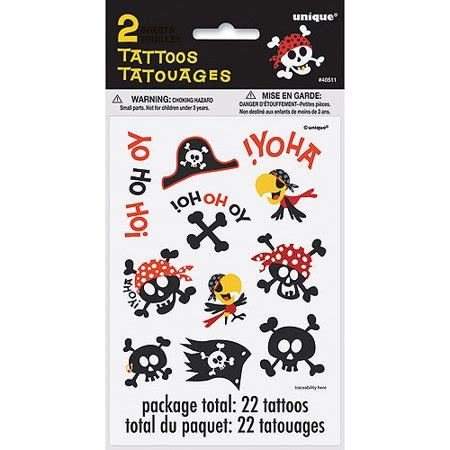 fake tattoos walmart pirate temporary tattoos 2pk walmart
