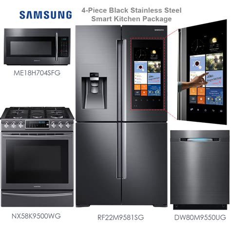 smart kitchen appliances discount package samsung 4 piece black stainless steel
