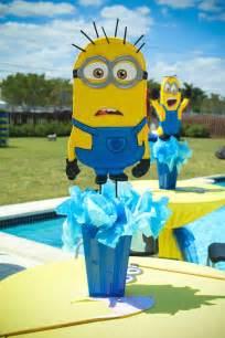 Minion Centerpieces Kara S Party Ideas Despicable Me Minion Themed Birthday Party Cake Decor Ideas Games