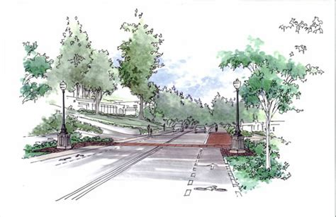 Landscape Architecture Perspective Rendered Perspective Drawing Graphics Rendering