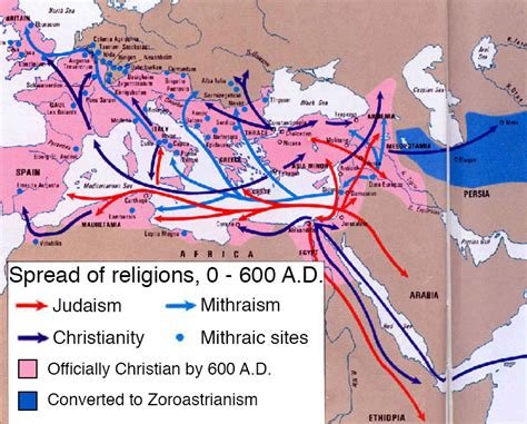 middle east map of religions spread of religions 0 600 ad history in maps ii