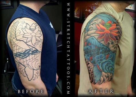 quarter sleeve tattoo cover up koi half sleeve cover up tattoos