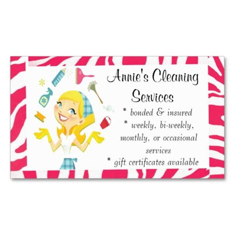 cleaning services maid business card pink cleaning