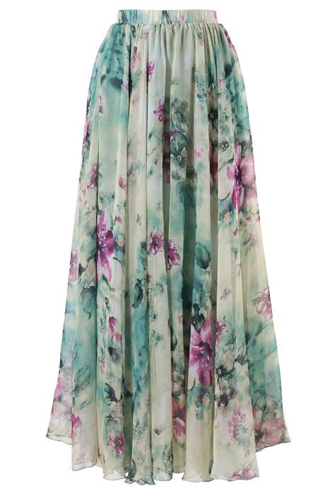 floral and frill maxi skirt retro and unique fashion