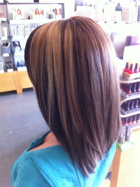 long swing bob hair cut medium blonde highlights with lowlights aveda color long
