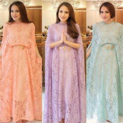 Sale Dress Biru Twiscon Mix Brukat baju dress kaftan panjang cantik bahan brukat murah