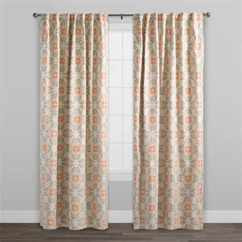 Concealed Tab Curtains Orange Tile Cotton Concealed Tab Top Curtains Set Of 2 World Market