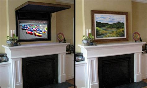 hiding  flat panel tv   fireplace traditional living room orange county  tvcoverups