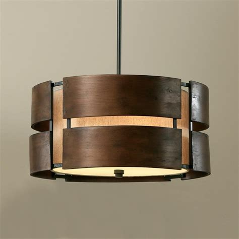 walnut 3 light drum chandelier wood shade pendant l