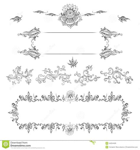 Wedding Card Ornaments by A Set Of Decorative Frames And Design Elements Floral