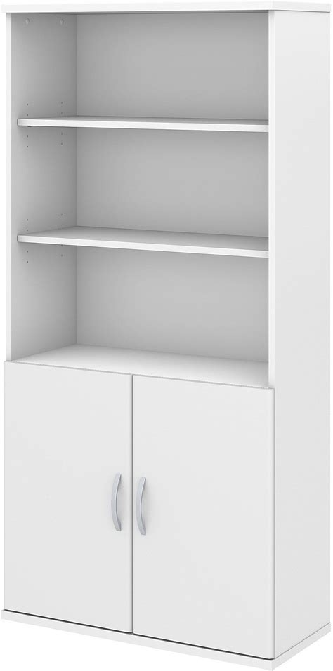 white 5 shelf bookcase studio c white 5 shelf bookcase with doors from bush