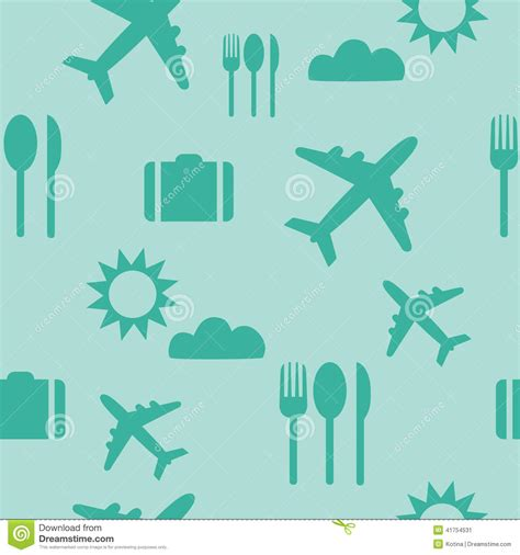 pattern travel background seamless pattern of flat colorful vector cing vector